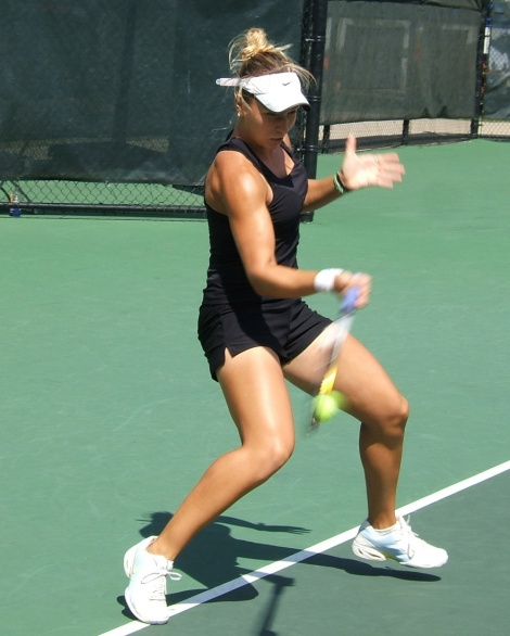 ICTA Florida Academy's Anastasia Kharchenko, hitting forehand during ITF $50,000 Challenger