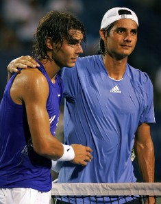 Rafael Nadal with Nicholas Lapentti of Ecuador.