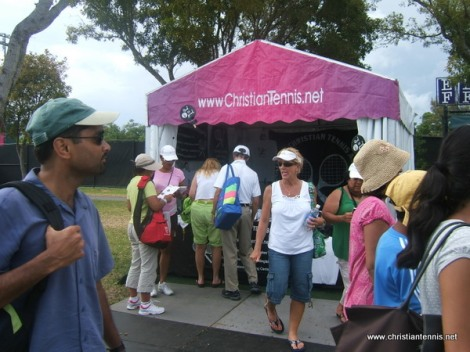 International Christian Tennis Association exhibitor's booth near Grandstand