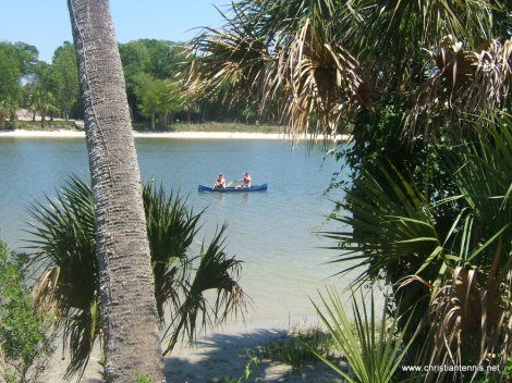 Ana & Aussie canoeing on Florida's gorgeous Intercoastal Waterway located directly behind ICTA's 2nd property!