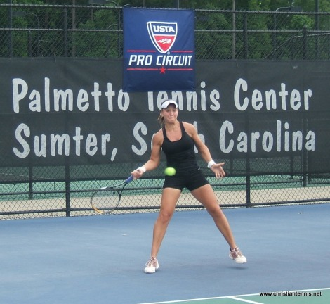Anastasia Kharchenko forehand in qualifying match.
